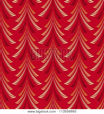 Seamless Christmas pattern. Stylized ornament of trees, firs on red background. Winter, New Year, na