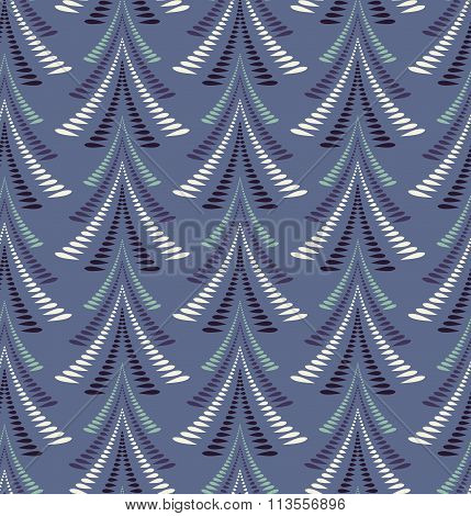 Seamless Christmas pattern. Stylized ornament of trees, firs on blue background. Winter, New Year, n