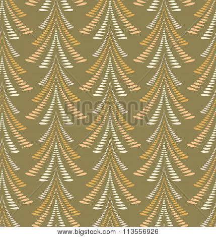 Seamless Christmas pattern. Stylized ornament of trees, firs on olive gold background. Winter, New Y