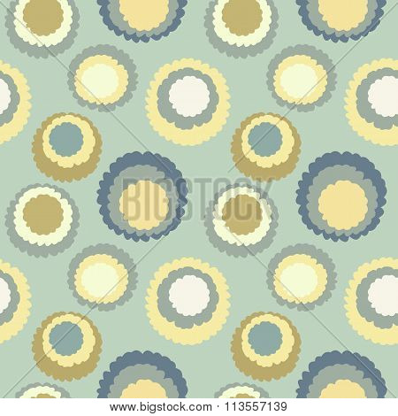 Abstract seamless spotty pattern. Polka dot, motley texture. Circles with torn paper effect. Gray, y