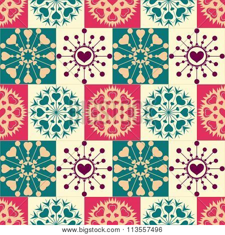 Christmas seamless pattern. Heart snowflakes. New Year, Valentine, birthday texture. Turquoise, oran