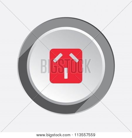 Electric plug, socket base icon. Australian, Argentina standard symbol. Red sign on round white-gray