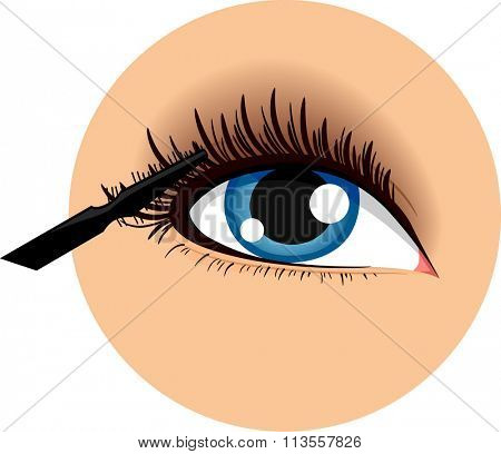 Illustration of an Icon Demonstrating How to Use a Mascara
