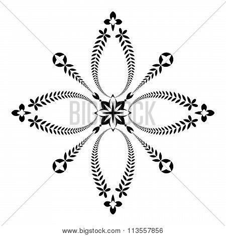 Laurel wreath tattoo icon. Cross sign. Black ornament on white background. Defense, peace, glory sym