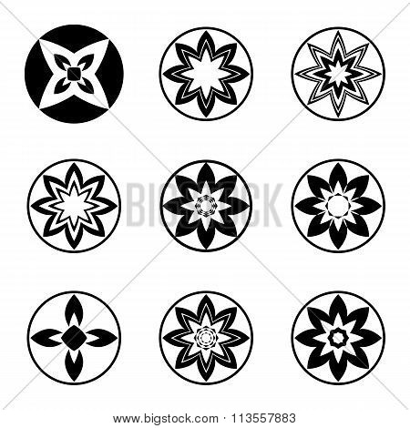 Mandala elements, tattoo icon set. Aster, star signs of four and eight rays. Black ornament. Harmony
