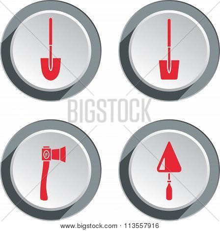 Building tools icon set. Axe, trowel, shovel. Work, toil, repair symbol. Red sign on round white-gra