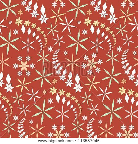 Seamless christmas pattern. Snowflakes, crystals on orange background. Winter, holiday sale, wrapper