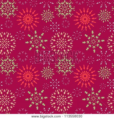 Christmas seamless pattern. Red, green, white snowflakes on magenta background. Winter theme retro t