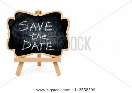 Wooden Easel Mini Blackboard, Text Save The Date