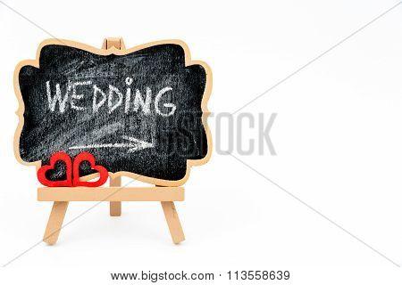 Wooden Easel Mini Blackboard, Text Wedding