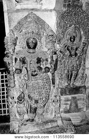 Lord Veerabhadra at entrance of Hoysaleswara Temple, Halebidu captured on December 30th, 2015