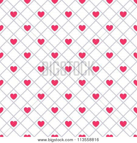 Heart shape seamless pattern. Pink color