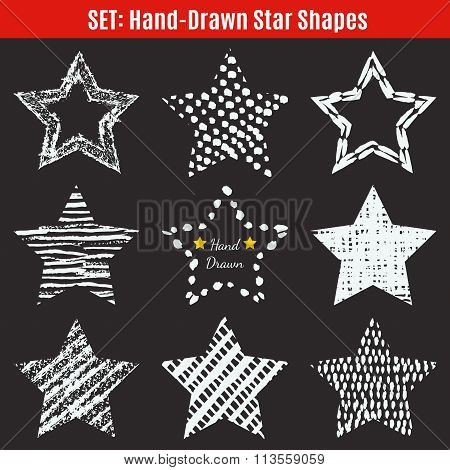 Set of hand-drawn textures star shapes.  illustration for
