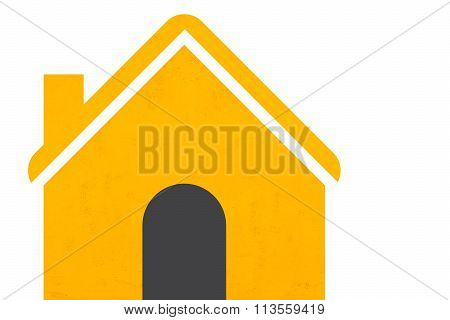 Yellow House Icon Set On White