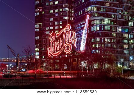 Pepsicola Sign Long Island City At Night