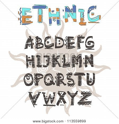 Vector Ethnic alphabet. Hand drawn letters. Letters of the alphabet written with a water based marke