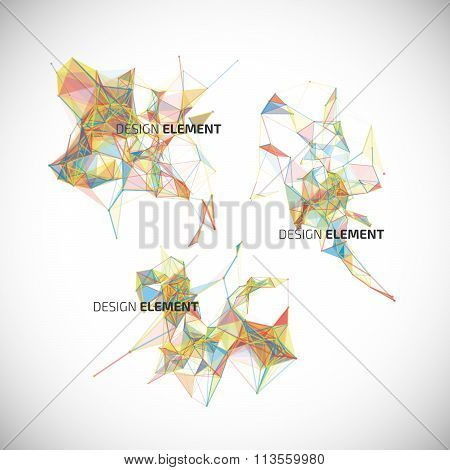 Collection of colorful abstract geometric backgrounds. Vector design elements.