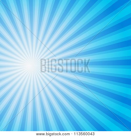 Blue color burst background. Vector illustration.