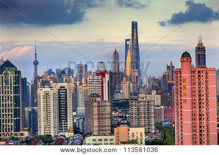 Puxi Pudong Buildings Skyscrapers Cityscape Shanghai China