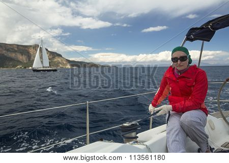 ERMIONI - LEONIDIO, GREECE - CIRCA MAY, 2014: Sailors participate in sailing regatta 11th Ellada Spring 2014 among Greek island group in the Aegean Sea, in Cyclades and Argo-Saronic Gulf.