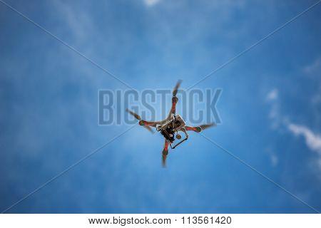 Varna, Bulgaria - July 05 ,2015: Flying Drone Quadcopter Dji Phantom