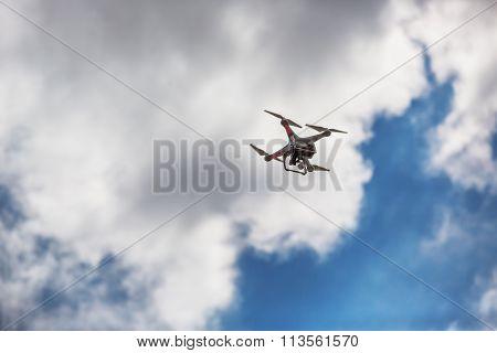 Varna, Bulgaria - July 05 ,2015: Flying Drone Quadcopter Dji Phantom 2