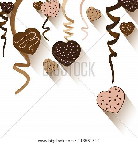 Valentine's Day and Heart chocolate isolated on white background. Vector Valentine's Day Party and f