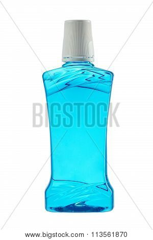 Plastic Bottle Of Mouthwash On White Background