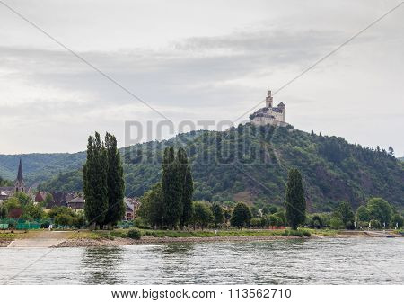 Marksburg Castle At Braubach In Rhine Valley, Germany - Unesco World Heritage Site