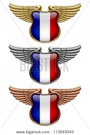 Gold, silver and bronze award signs with wings and France state flag. Vector illustration