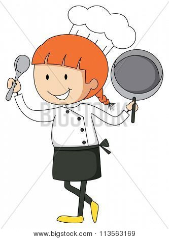 Female chef with pan and spatula illustration