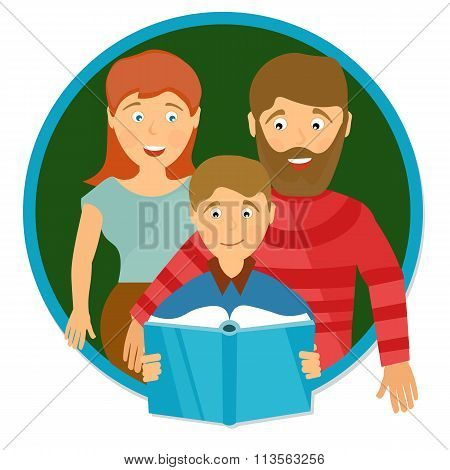 Happy Family Portrait. Schoolboy Reading  Book. Education Concept