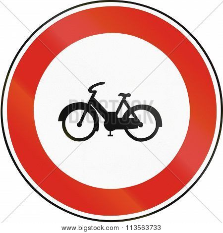Road Sign Used In Slovakia - No Mopeds