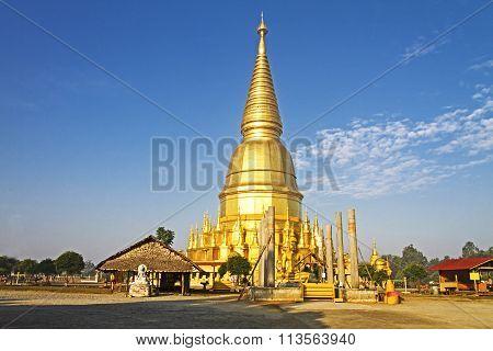 Pagoda Golden With Sunshine