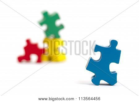 Closeup Of Big Jigsaw Puzzle Piece, Perspective