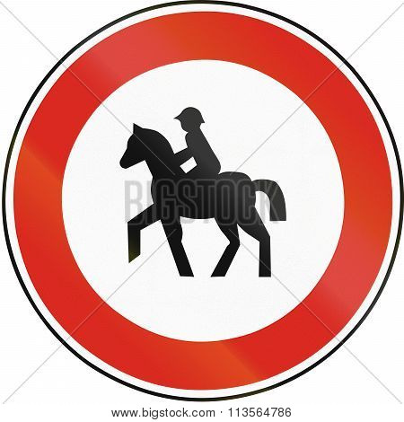 Road Sign Used In Slovakia - No Equestrians