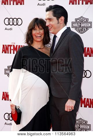 Evangeline Lilly and David Dastmalchian at the Los Angeles premiere of Marvel's