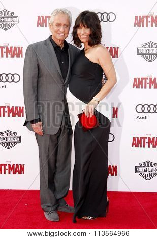 Evangeline Lilly and Michael Douglas at the Los Angeles premiere of Marvel's