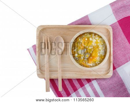 Fresh, Organic Puree Vegetables And Pork For Baby On The Wood Tray