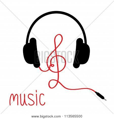 Headphones With Treble Clef Red Cord And Word Music. Card. Flat Design. White Background.