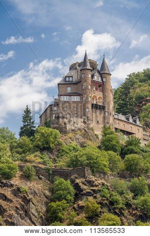 Katz Castle Above St.goarhausen In Rhine Valley, Germany