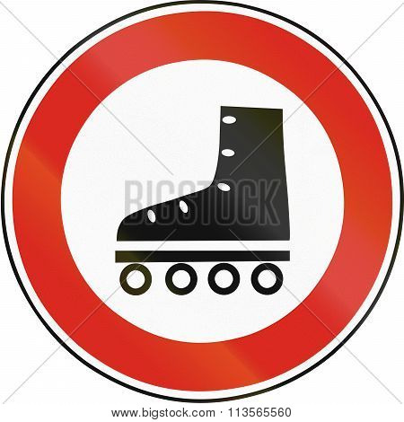 Road Sign Used In Slovakia - No Roller Blading