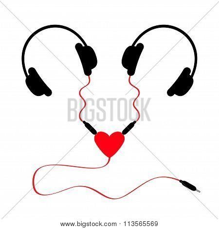 Two Headphones. Earphones Couple Audio Splitter Adapter Heart. Red Cord. White Background. Isolated.
