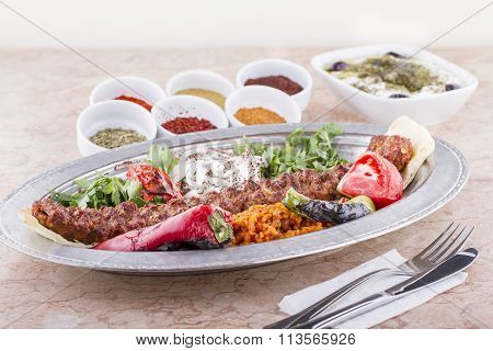 Turkish, Arabian and Greek Traditional Special cultural Food Kebab Adana, Urfa, Beyti, Abbaganus, So