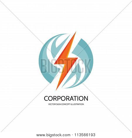 Electronic technology - vector logo concept illustration. Lightning logo. Electricity power logo.