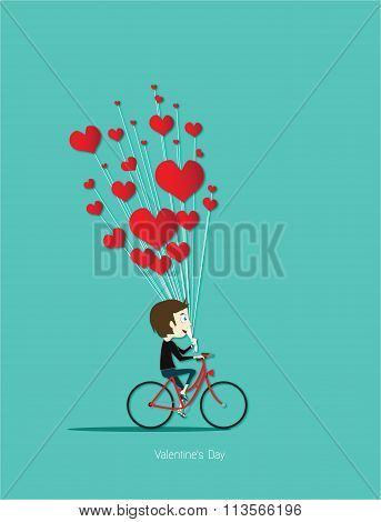 Boy Cycling Red Bicycle With Red Heart For Valentine Day