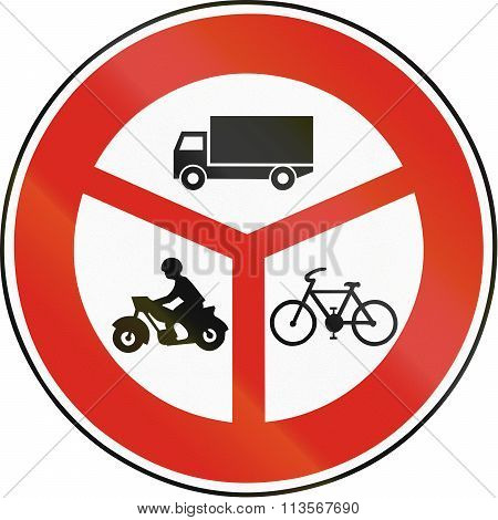 Road Sign Used In Slovakia - No Lorries, Motorcycles And Bicycles