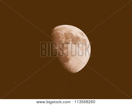 Retro Looking Gibbous Moon With Stars