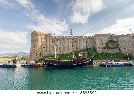Historic 7Th Century Ad Castle And Old Harbor With Prominent Neo-classical Ship In Kyrenia, Island O