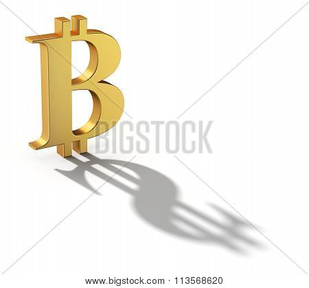 Bitcoin with a shadow shaped as a dollar currency sign